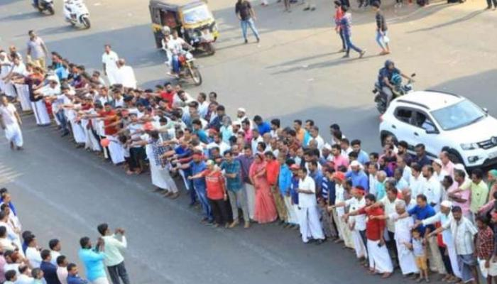 Kerala, Protest citizenship law, CPI (M) leadership, 620 km human chain, a demonstration,