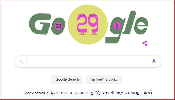 Coming once in four years, On 29 February, Google made doodle,