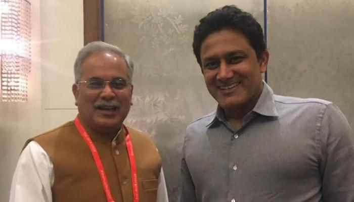 Chief Minister, Bhupesh Baghel, Stay in bangalore today, Cricketer, Anil Kumble, Courtesy visit,