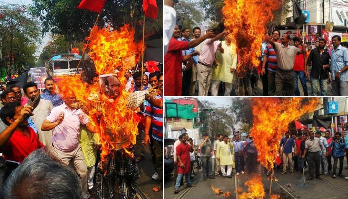 Protests by Left parties and Congress, Black flag, Union Home Minister, Amit Shah, Kolkata,