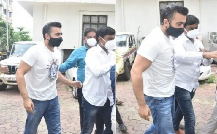 Raj Kundra's face not showing any regret on his way to jail, seen in style  entertainment News in Hindi