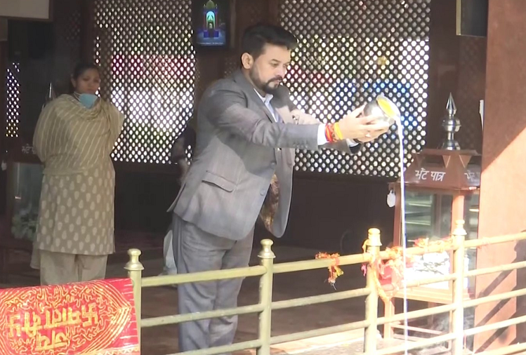Union Minister Anurag Thakur arrived to visit Mata Kheer Bhavani in Ganderbal on a visit to Jammu and Kashmir, meeting with DDC and BDC representatives after darshan